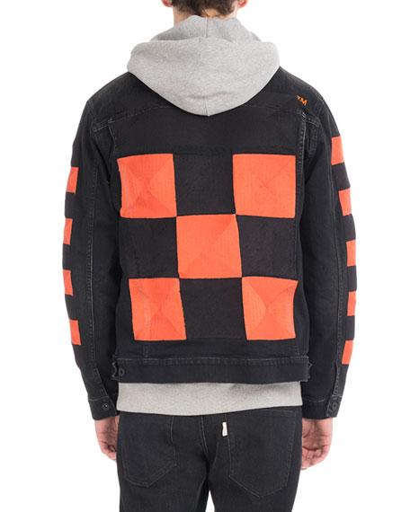 Checker Oversized Denim Jacket