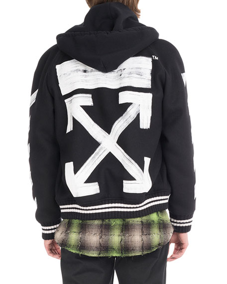 aced5fccdb5c Off-White Brushed Diagonal Arrows Varsity Jacket