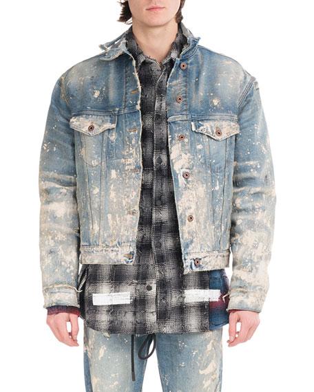 Off White Painted Splatter Oversized Denim Jacket