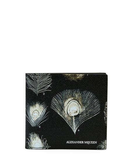 Alexander McQueen Peacock Feather Leather Bi-Fold Wallet,