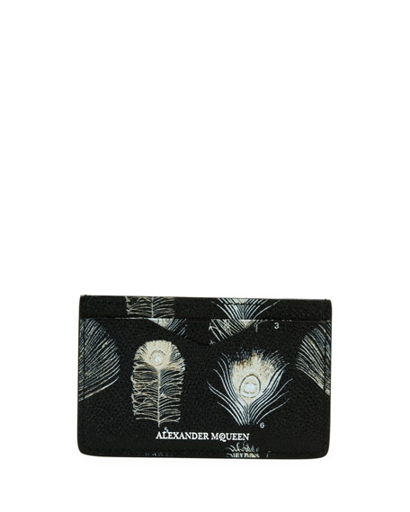 Alexander McQueen Peacock Feather Leather Card Case, Black/White