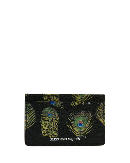 Alexander McQueen Peacock Feather Leather Card Case,