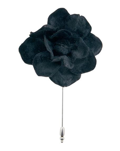 Cinabre Velvet Gardenia Flower Lapel Pin