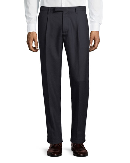 Pleat-Front Wool Dress Pants