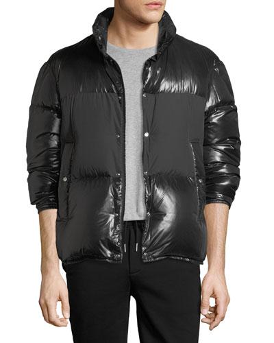 Aynard Shiny Puffer Jacket w/ Matte Center