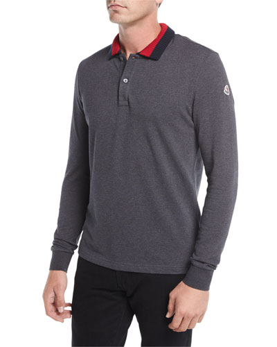Long-Sleeve Ribbed-Collar Polo Shirt