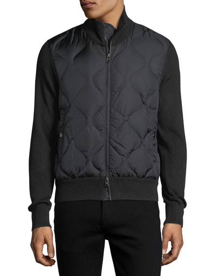 Quilted Nylon & Wool-Blend Zip-Front Cardigan