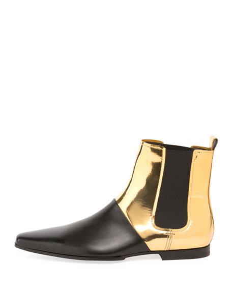 Artemis Metallic Leather Chelsea Boot, Black/Gold