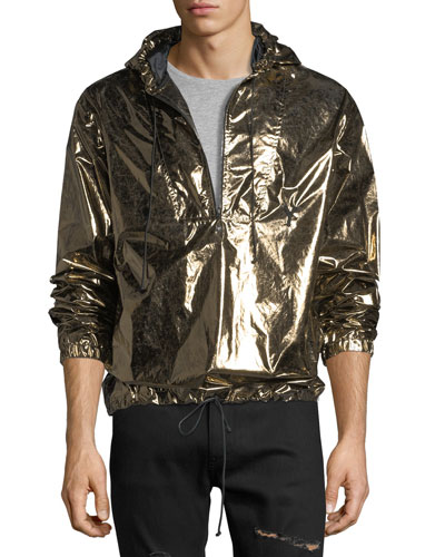 Metallic Hooded Lightweight Anorak