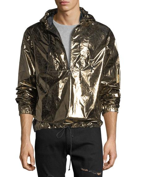 Metallic Hooded Lightweight Anorak