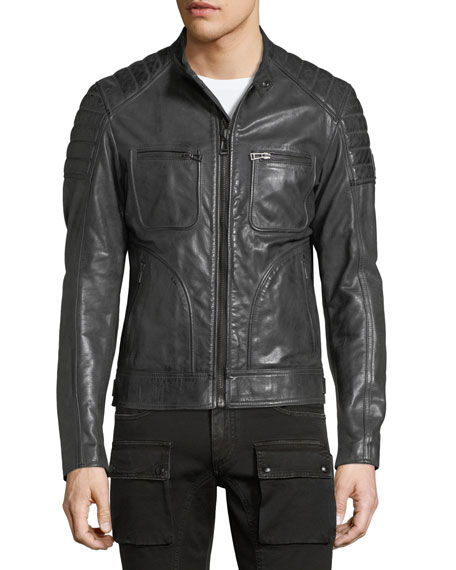 belstaff weybridge leather cafe racer jacket dark gray. Black Bedroom Furniture Sets. Home Design Ideas