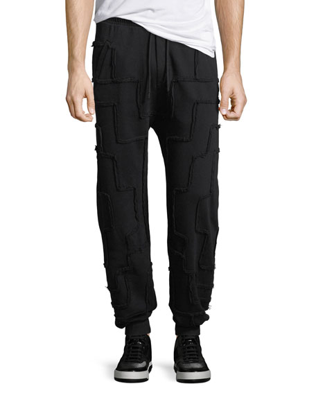 Marcelo Burlon Jogger Pants with Frayed Squares