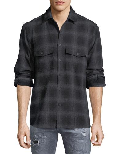 Sham Jaguar-Print Flannel Plaid Shirt