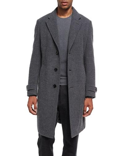 Four-Button Cashmere Boucle Overcoat