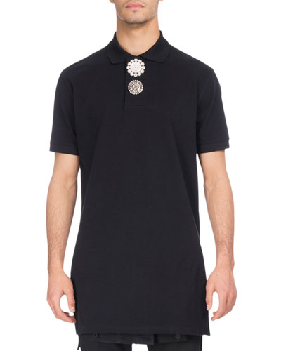 Embellished-Button Extended-Hem Polo Shirt