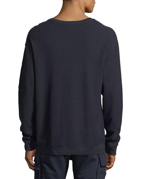 Waffle-Knit Cotton Crewneck T-Shirt