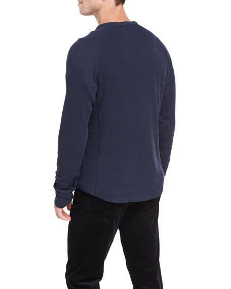 Double-Knit Raglan Henley T-Shirt