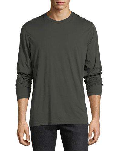 Raw-Edge Long-Sleeve Crewneck T-Shirt