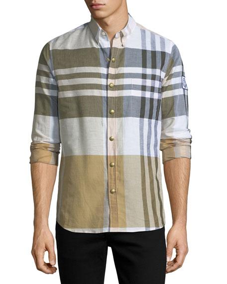 Macro-Check Snap-Front Shirt