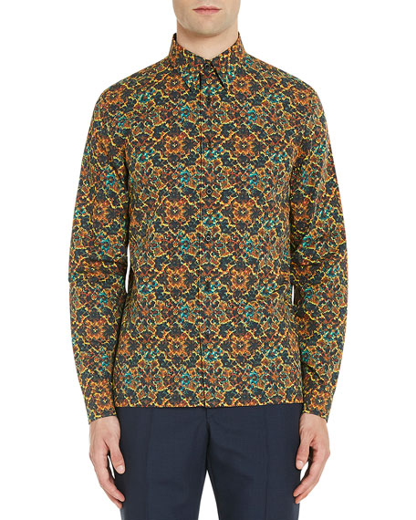 Psychedelic-Print Button-Down Shirt