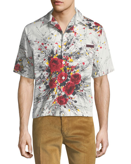 Bouquet-Print Cotton Shirt