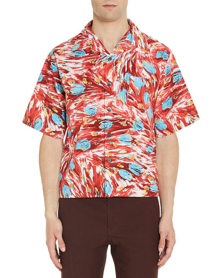 Tulip-Print Sport Shirt