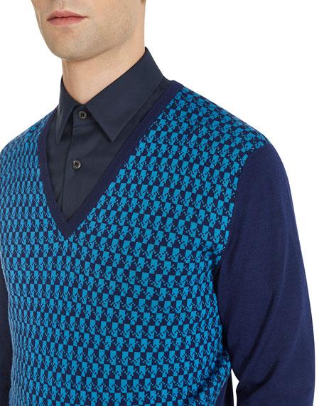 Geometric V-Neck Sweater