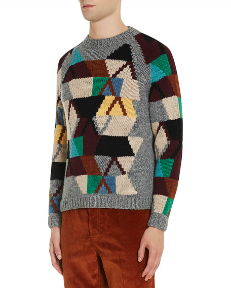 Patchwork Pattern Crewneck Sweater