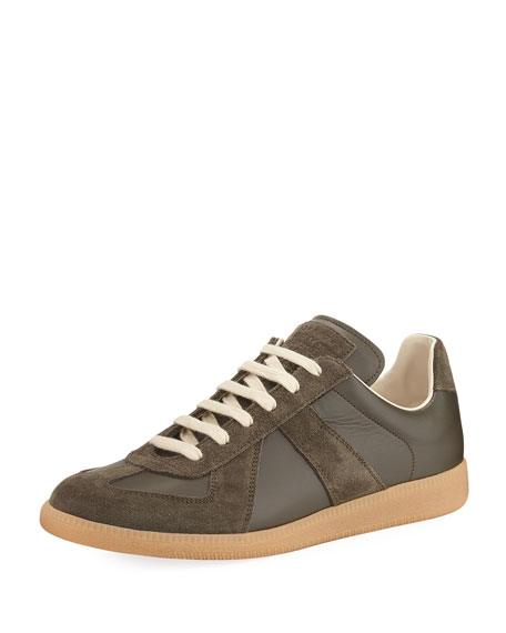 c7af841b8c8 Men's Replica Leather & Suede Low-Top Sneakers Green