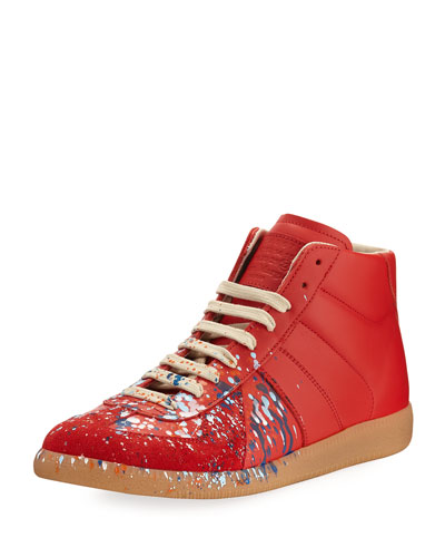 Replica Paint-Splatter Leather Mid-Top Sneaker, Red