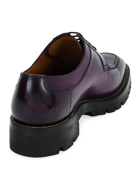 Scuber Lug-Sole Leather Derby Shoe, Purple