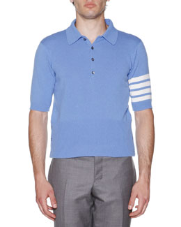 Stripe-Sleeve Cashmere Polo, Blue