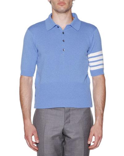 Stripe-Sleeve Cashmere Polo, Blue