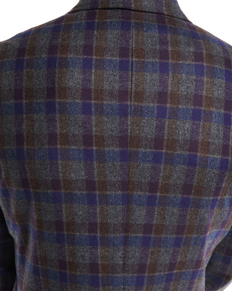 Domenico Large Check Wool-Cashmere Blazer
