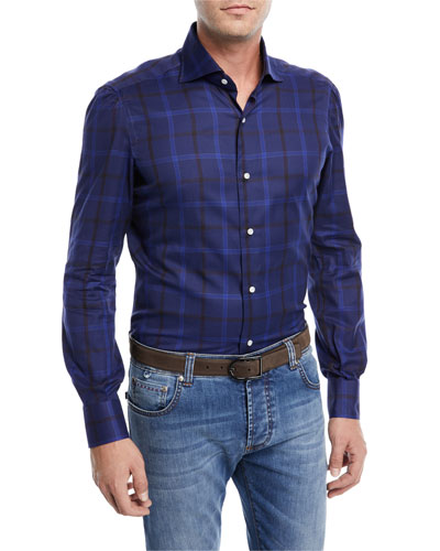 Tonal Checked Sport Shirt