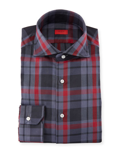 Tonal Check-Print Cotton Dress Shirt