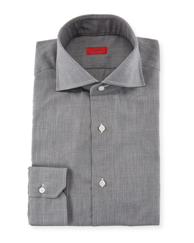 Textured Cotton Flannel Dress Shirt