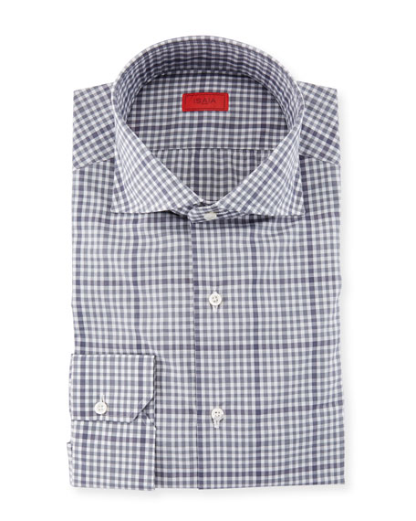 Irregular Check-Print Cotton Dress Shirt