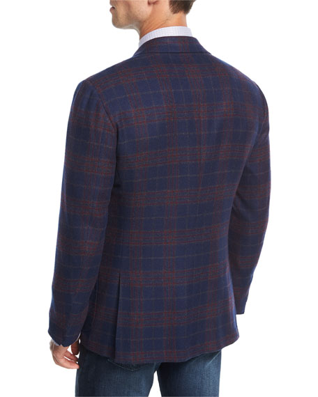 Plaid Cashmere Three-Button Sport Coat