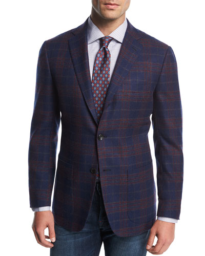 Plaid Cashmere Two-Button Sport Coat