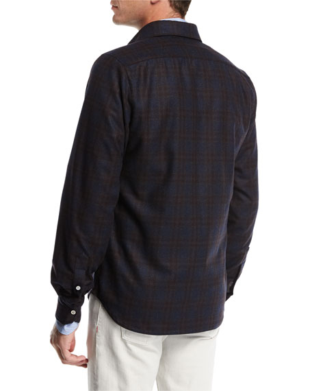 Plaid Wool-Cashmere Overshirt