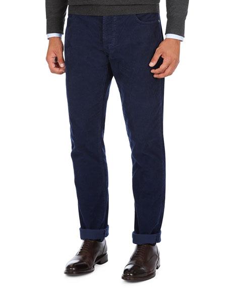 Needle Corduroy Straight-Leg Pants