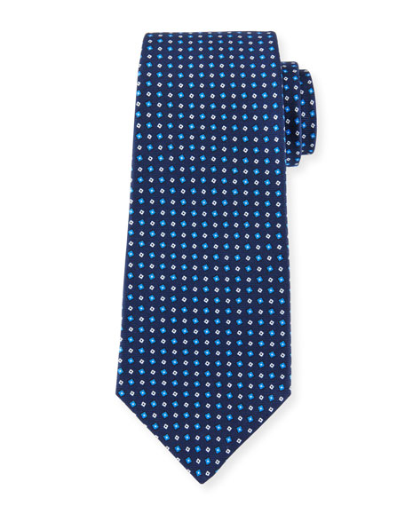 Micro-Box Silk Tie, Blue