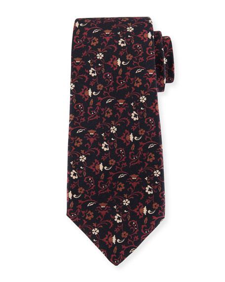 Kiton Floral-Print Silk Twill Tie