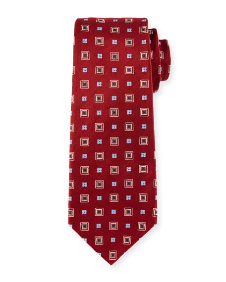 Kiton Woven Square Silk Tie, Red