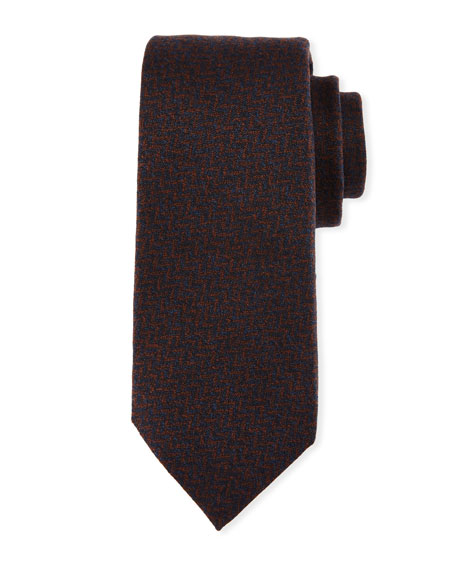 Chevron Wool-Silk Tie, Brown