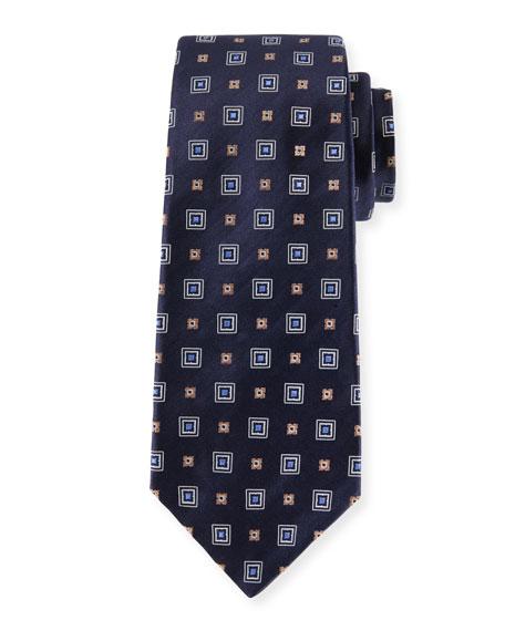 Woven Square Silk Tie, Navy Blue