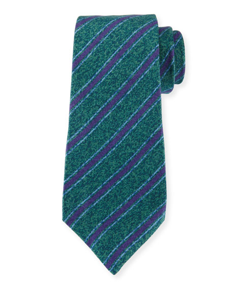 Kiton Diagonal-Stripe Silk Tie, Green