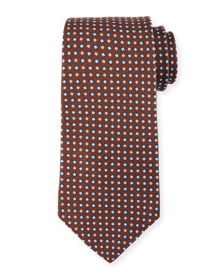 Kiton Woven Square Silk Tie, Brown