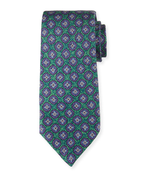 Kiton Medallion-Print Silk Tie, Green